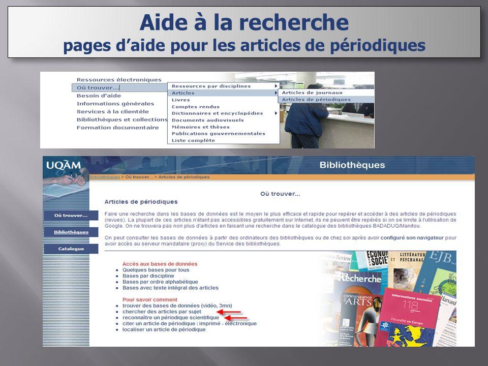Aide à la recherche pages daide pour les articles de périodiques Aide à la recherche pages daide pour les articles de périodiques