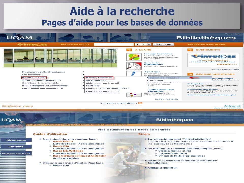 Aide à la recherche Pages daide pour les bases de données Aide à la recherche Pages daide pour les bases de données