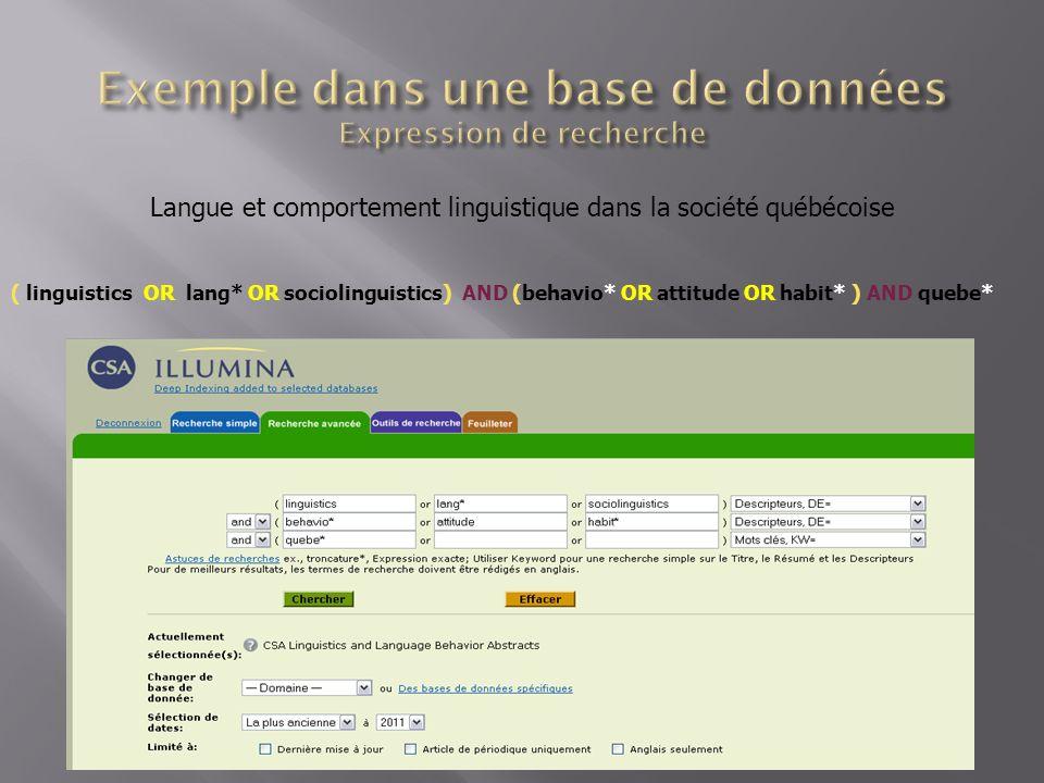 ( linguistics OR lang* OR sociolinguistics) AND (behavio* OR attitude OR habit* ) AND quebe* Langue et comportement linguistique dans la société québécoise