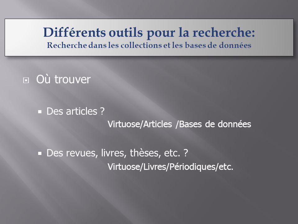 Où trouver Des articles . Virtuose/Articles /Bases de données Des revues, livres, thèses, etc.