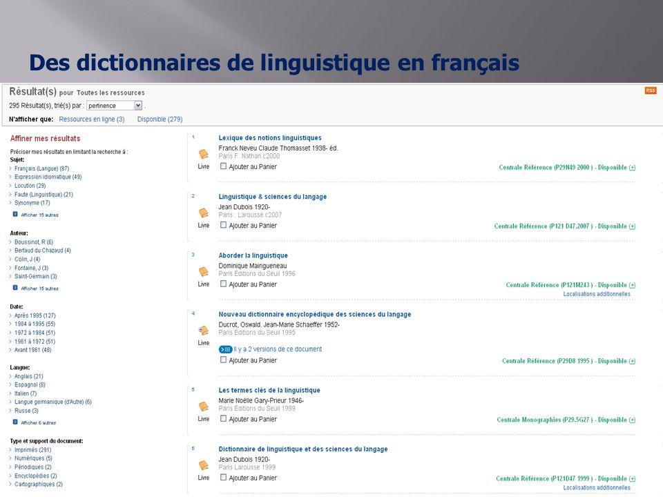 Des dictionnaires de linguistique en français Cliquer sur Dictionnaires