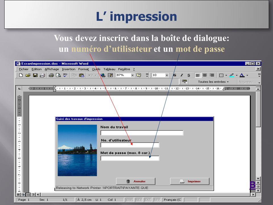 Vous devez inscrire dans la boîte de dialogue: un numéro dutilisateur et un mot de passe B L impression