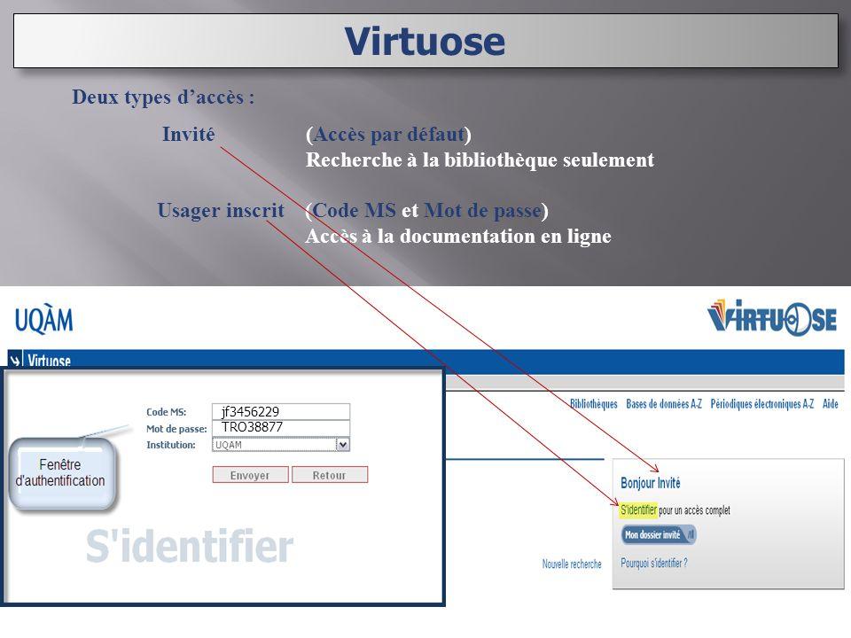 Deux types daccès : Invité (Accès par défaut) Recherche à la bibliothèque seulement Usager inscrit (Code MS et Mot de passe) Accès à la documentation en ligne Virtuose jf3456229 TRO38877
