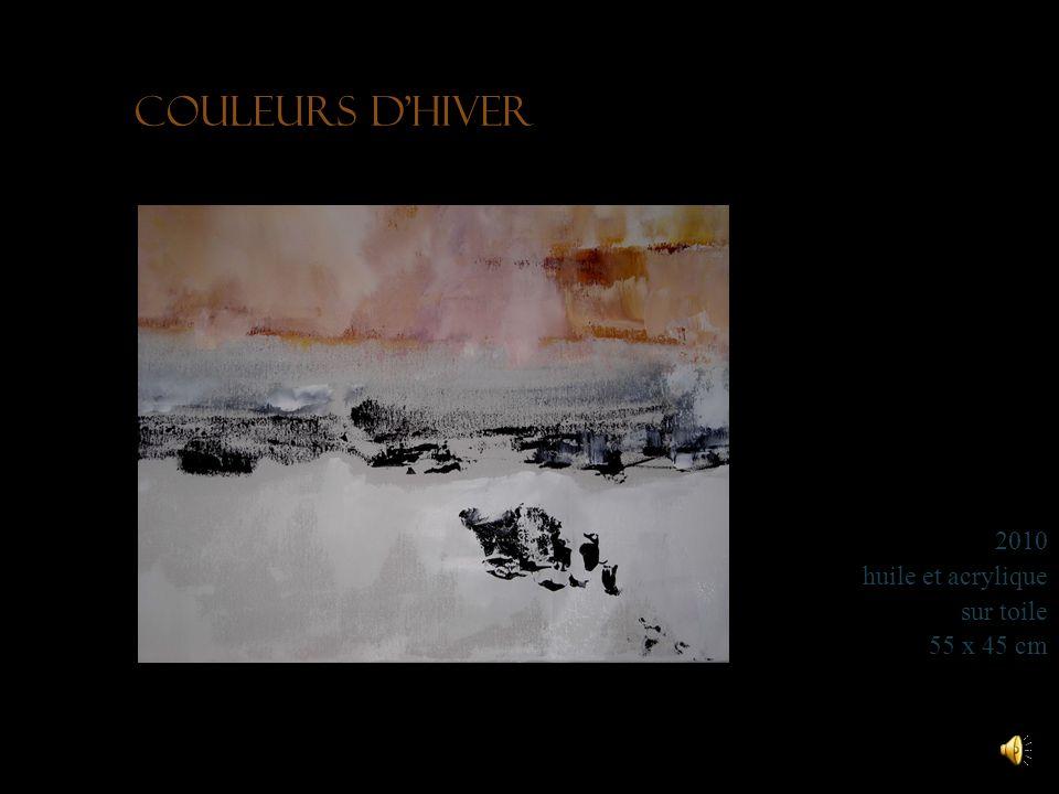 Brouillard dautomne entre lac et montagne 2011 acrylique sur toile 50 x 40 cm