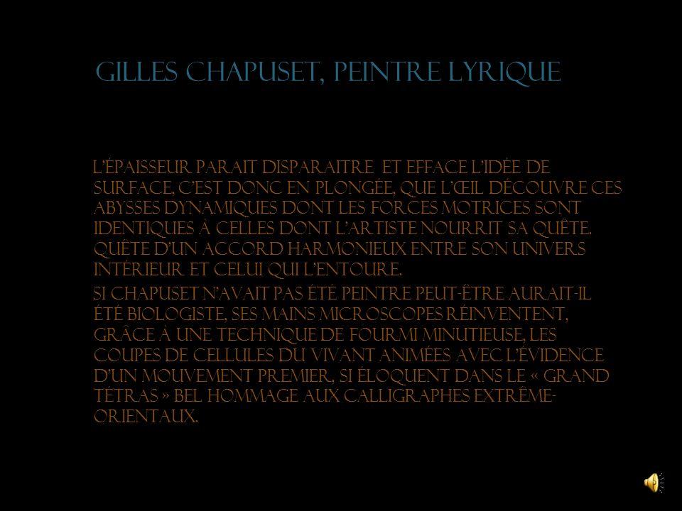 Gilles chapuset, peintre lyrique Entrer dans la peinture de Gilles, comme on part en voyage, espaces éphémères de linstant surpris, pulsations de vie