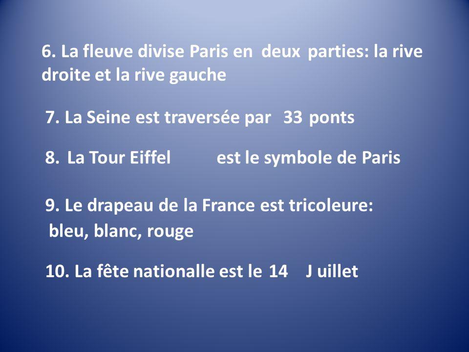 6. La fleuve divise Paris en trois parties: la rive droite et la rive gauche deux 7. La Seine est traversée par 11 ponts33 8. L`Arc de Triumphe est le