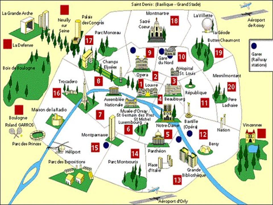 6.La fleuve divise Paris en trois parties: la rive droite et la rive gauche deux 7.