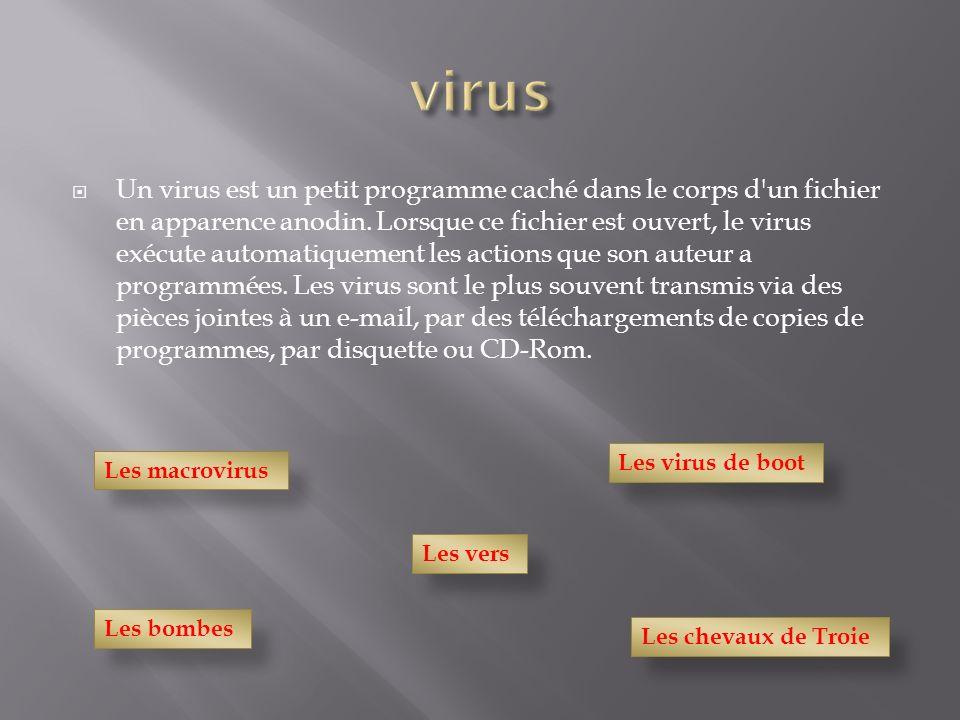 Un virus est un petit programme caché dans le corps d'un fichier en apparence anodin. Lorsque ce fichier est ouvert, le virus exécute automatiquement