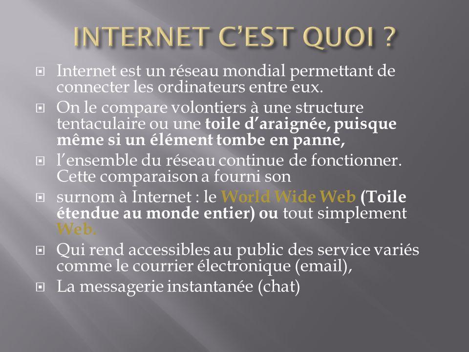 Internet est un réseau mondial permettant de connecter les ordinateurs entre eux. On le compare volontiers à une structure tentaculaire ou une toile d