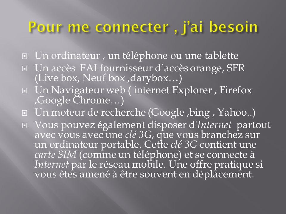 Un ordinateur, un téléphone ou une tablette Un accès FAI fournisseur daccès orange, SFR (Live box, Neuf box,darybox…) Un Navigateur web ( internet Exp