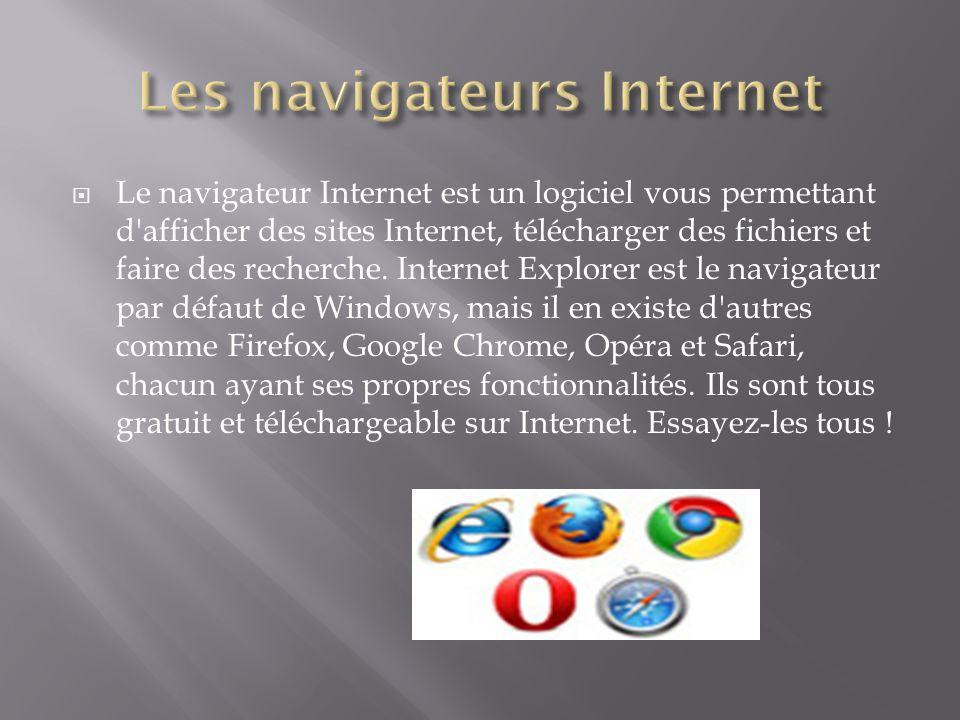 Le navigateur Internet est un logiciel vous permettant d'afficher des sites Internet, télécharger des fichiers et faire des recherche. Internet Explor
