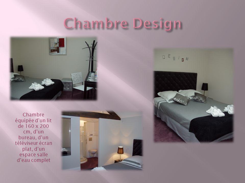 Elle est équipée dun lit 160 x 200 cm, dun bureau et dune partie salle deau complète.