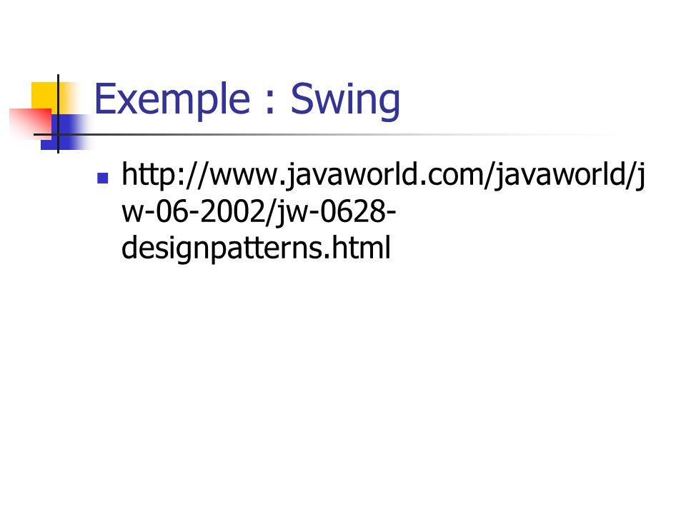 Exemple : Swing http://www.javaworld.com/javaworld/j w-06-2002/jw-0628- designpatterns.html