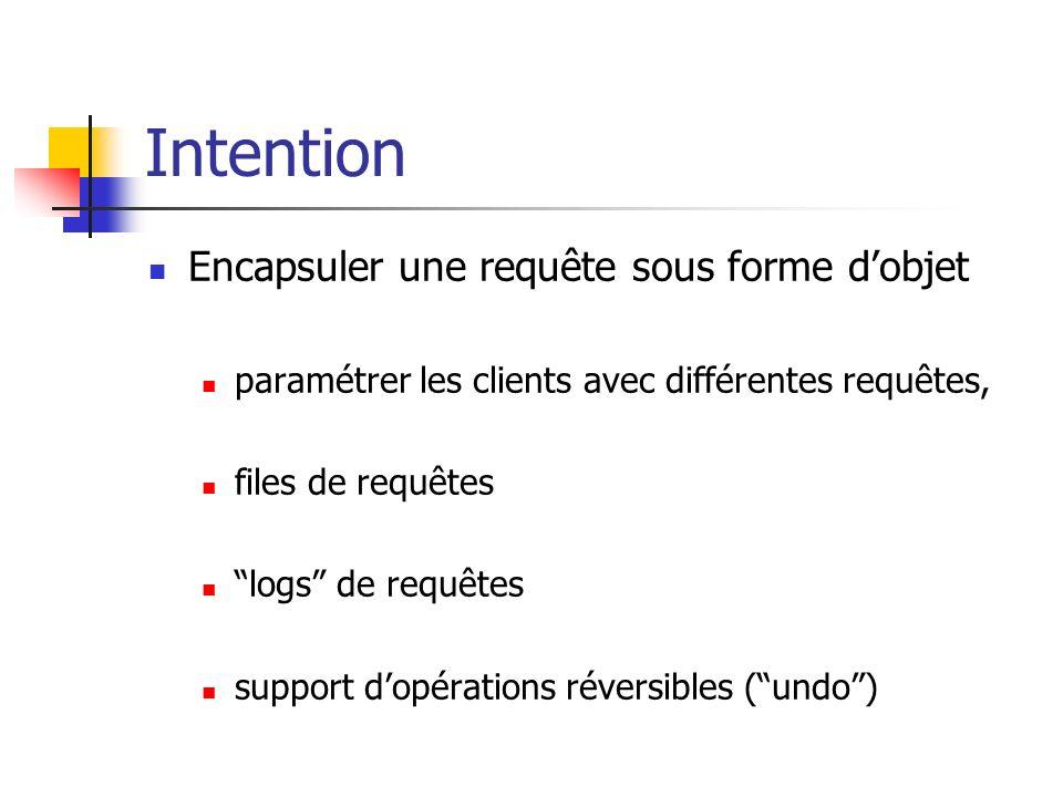 Intention Encapsuler une requête sous forme dobjet paramétrer les clients avec différentes requêtes, files de requêtes logs de requêtes support dopéra