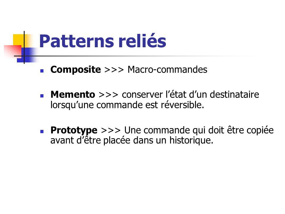 Patterns reliés Composite >>> Macro-commandes Memento >>> conserver létat dun destinataire lorsquune commande est réversible. Prototype >>> Une comman