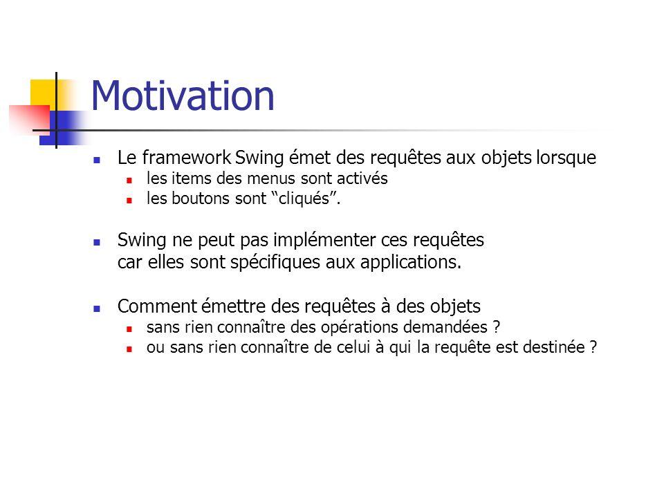 Motivation Le design pattern Command permet aux objets dun toolkit de faire des requêtes sur des objets dune application non-spécifiée en transformant la requête en un objet Cet objet est emmagasiné et transmis comme les autres objets.
