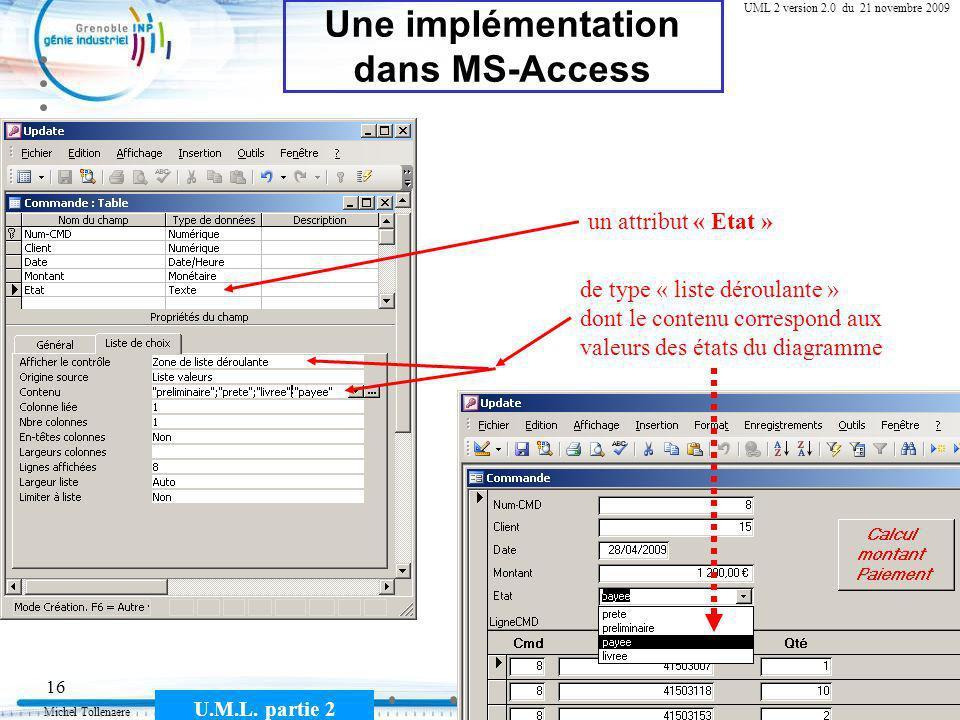Michel Tollenaere U.M.L. partie 2 16 Cours MSI-2A filière ICL UML 2 version 2.0 du 21 novembre 2009 Une implémentation dans MS-Access un attribut « Et