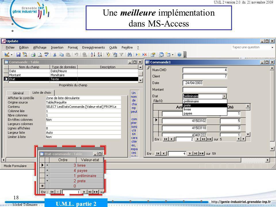 Michel Tollenaere U.M.L. partie 2 18 Cours MSI-2A filière ICL UML 2 version 2.0 du 21 novembre 2009 Une meilleure implémentation dans MS-Access