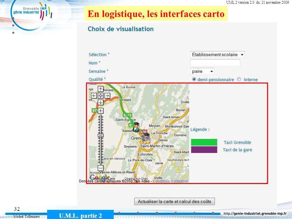 Michel Tollenaere U.M.L. partie 2 32 Cours MSI-2A filière ICL UML 2 version 2.0 du 21 novembre 2009 En logistique, les interfaces carto