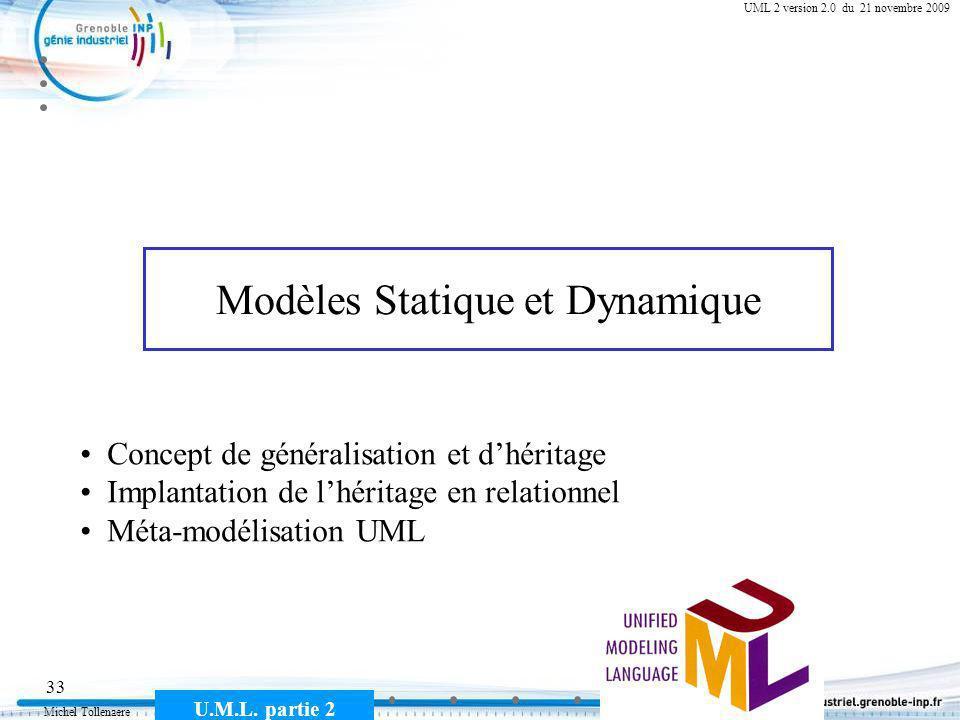 Michel Tollenaere U.M.L. partie 2 33 Cours MSI-2A filière ICL UML 2 version 2.0 du 21 novembre 2009 Modèles Statique et Dynamique Concept de généralis