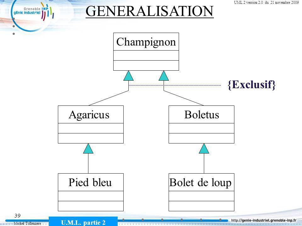 Michel Tollenaere U.M.L. partie 2 39 Cours MSI-2A filière ICL UML 2 version 2.0 du 21 novembre 2009 GENERALISATION Champignon Bolet de loup BoletusAga
