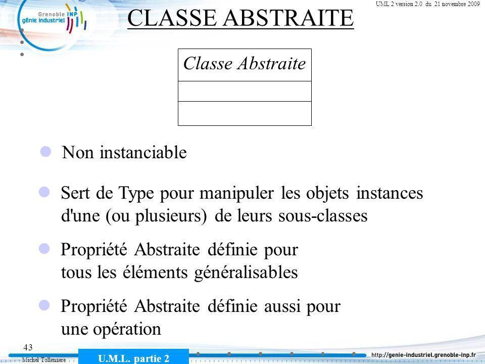 Michel Tollenaere U.M.L. partie 2 43 Cours MSI-2A filière ICL UML 2 version 2.0 du 21 novembre 2009 CLASSE ABSTRAITE Classe Abstraite Non instanciable