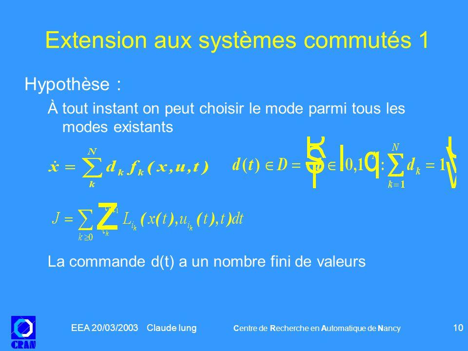 EEA 20/03/2003 Claude Iung Centre de Recherche en Automatique de Nancy 10 Hypothèse : À tout instant on peut choisir le mode parmi tous les modes exis