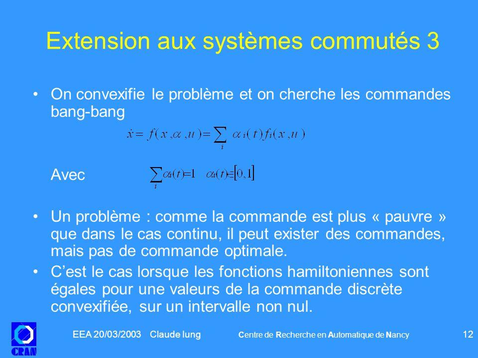 EEA 20/03/2003 Claude Iung Centre de Recherche en Automatique de Nancy 12 Extension aux systèmes commutés 3 On convexifie le problème et on cherche le