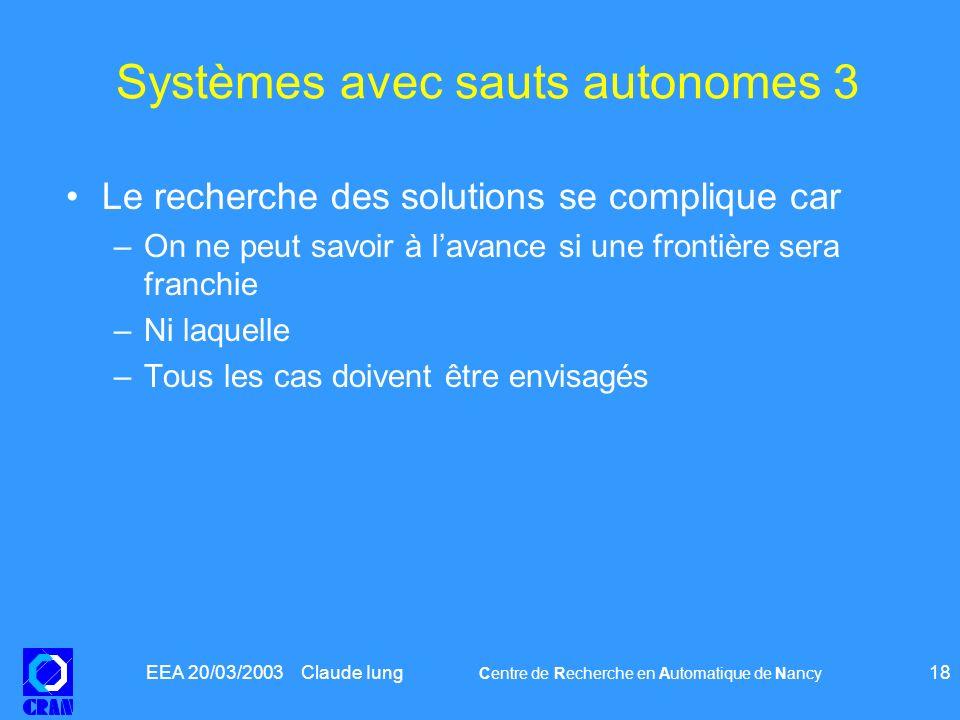 EEA 20/03/2003 Claude Iung Centre de Recherche en Automatique de Nancy 18 Systèmes avec sauts autonomes 3 Le recherche des solutions se complique car