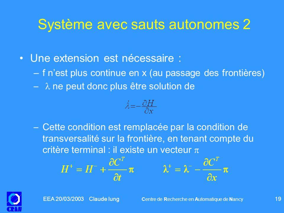 EEA 20/03/2003 Claude Iung Centre de Recherche en Automatique de Nancy 19 Système avec sauts autonomes 2 Une extension est nécessaire : –f nest plus c