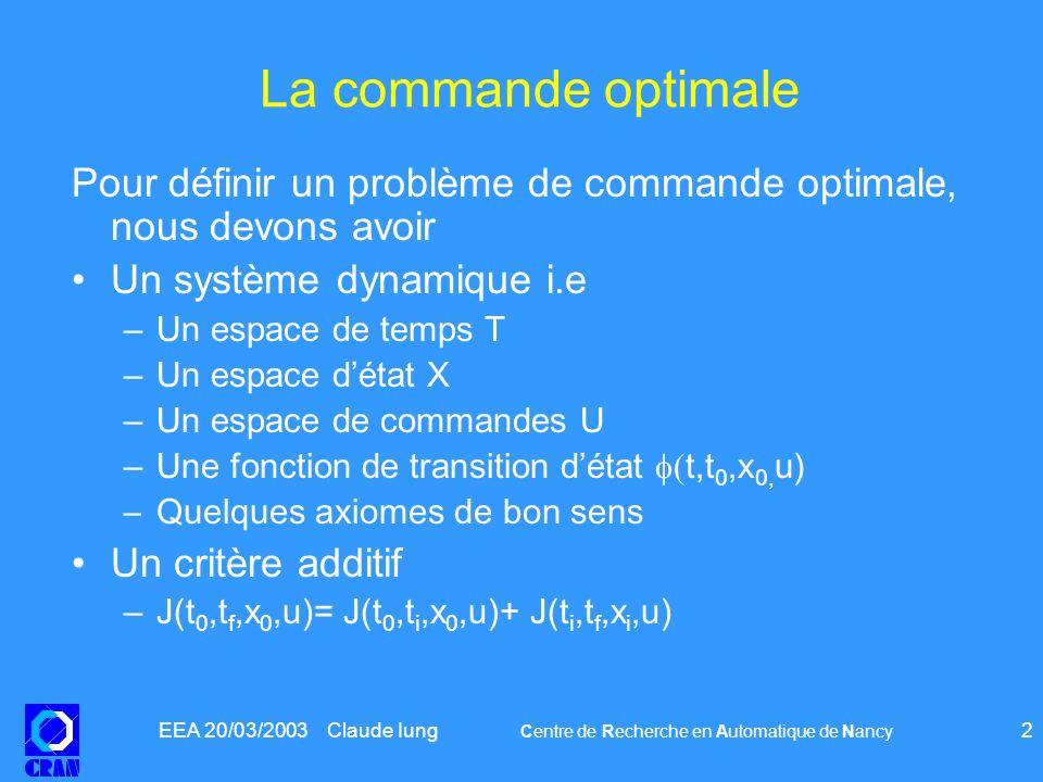 EEA 20/03/2003 Claude Iung Centre de Recherche en Automatique de Nancy 23 La programmation dynamique et les équations HJB Théorème 1: Si une trajectoire admissible ( x; q )( : ) déterminée par la donnée de la condition initiale ( x 0 ; q 0 )( : ) et de la commande ( u; d )( : ), est optimale alors les conditions suivantes sont vérifiées : pour presque tout t 2 [ a; b ] –