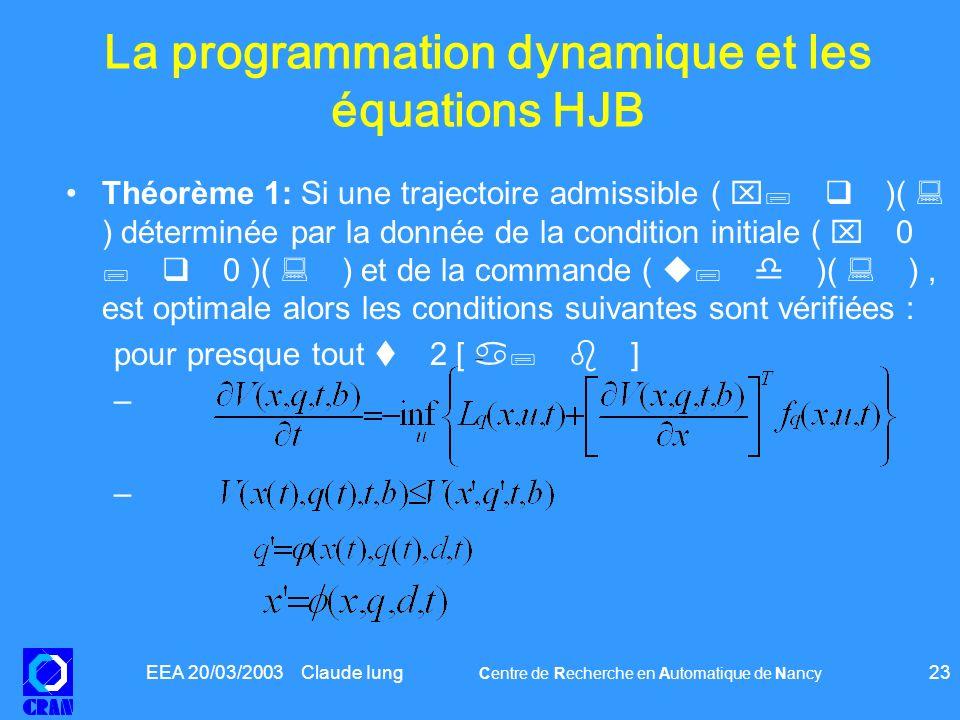 EEA 20/03/2003 Claude Iung Centre de Recherche en Automatique de Nancy 23 La programmation dynamique et les équations HJB Théorème 1: Si une trajectoi