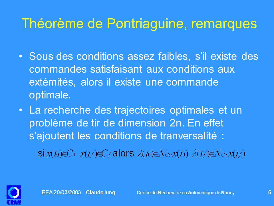 EEA 20/03/2003 Claude Iung Centre de Recherche en Automatique de Nancy 6 Théorème de Pontriaguine, remarques Sous des conditions assez faibles, sil ex