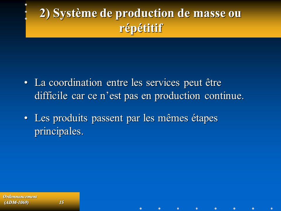 Ordonnancement (ADM-1069)15 (ADM-1069)15 2) Système de production de masse ou répétitif La coordination entre les services peut être difficile car ce