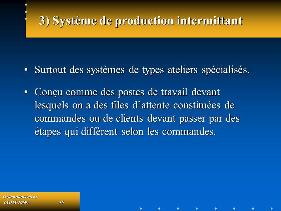 Ordonnancement (ADM-1069)16 (ADM-1069)16 3) Système de production intermittant Surtout des systèmes de types ateliers spécialisés.Surtout des systèmes