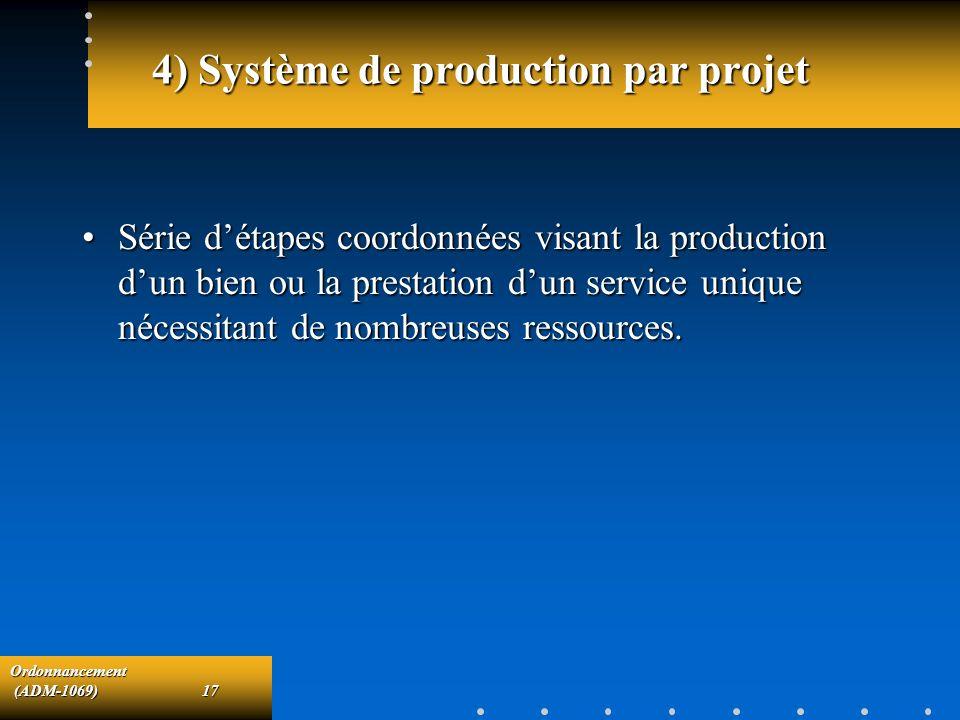 Ordonnancement (ADM-1069)17 (ADM-1069)17 4) Système de production par projet Série détapes coordonnées visant la production dun bien ou la prestation