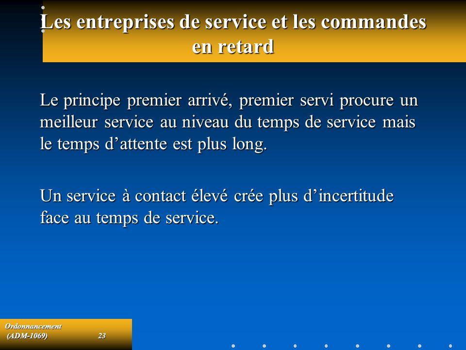 Ordonnancement (ADM-1069)23 (ADM-1069)23 Les entreprises de service et les commandes en retard Le principe premier arrivé, premier servi procure un me