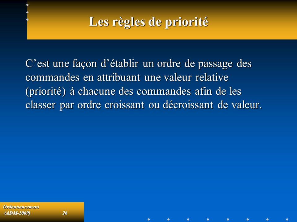 Ordonnancement (ADM-1069)26 (ADM-1069)26 Les règles de priorité Cest une façon détablir un ordre de passage des commandes en attribuant une valeur rel