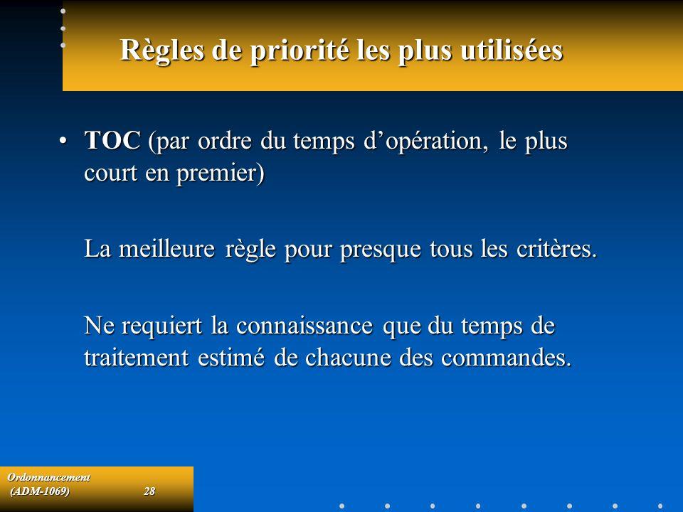 Ordonnancement (ADM-1069)28 (ADM-1069)28 Règles de priorité les plus utilisées TOC (par ordre du temps dopération, le plus court en premier)TOC (par o