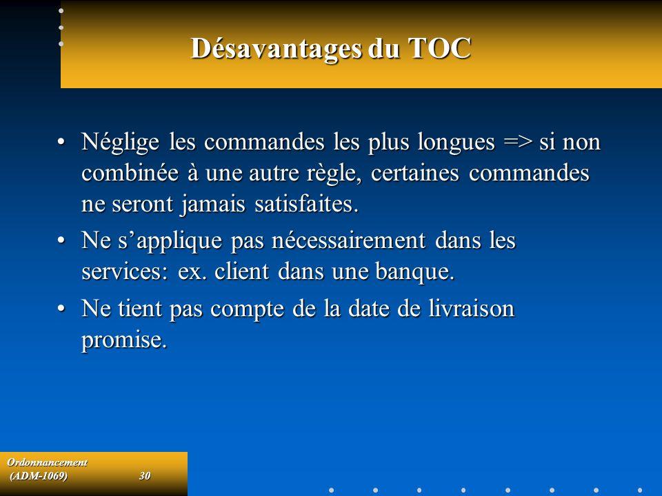 Ordonnancement (ADM-1069)30 (ADM-1069)30 Désavantages du TOC Néglige les commandes les plus longues => si non combinée à une autre règle, certaines co