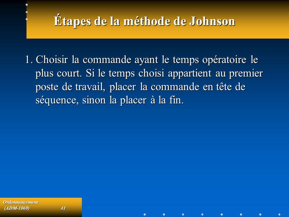 Ordonnancement (ADM-1069)41 (ADM-1069)41 Étapes de la méthode de Johnson 1. Choisir la commande ayant le temps opératoire le plus court. Si le temps c