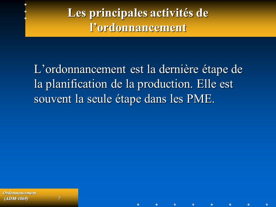 Ordonnancement (ADM-1069)7 (ADM-1069)7 Les principales activités de lordonnancement Lordonnancement est la dernière étape de la planification de la pr
