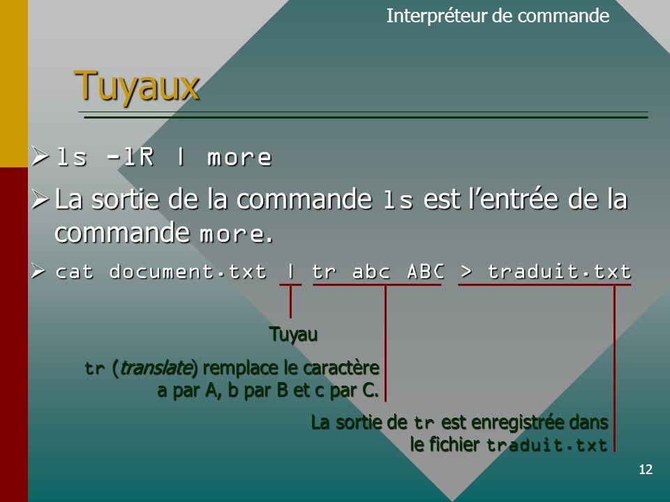 12 Tuyaux ls -lR | more ls -lR | more La sortie de la commande ls est lentrée de la commande more.