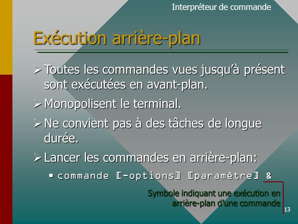 13 Exécution arrière-plan Toutes les commandes vues jusquà présent sont exécutées en avant-plan.
