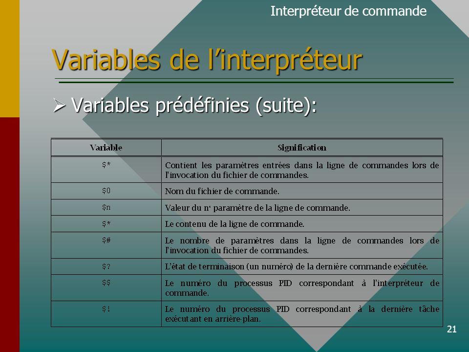 21 Variables de linterpréteur Interpréteur de commande Variables prédéfinies (suite): Variables prédéfinies (suite):