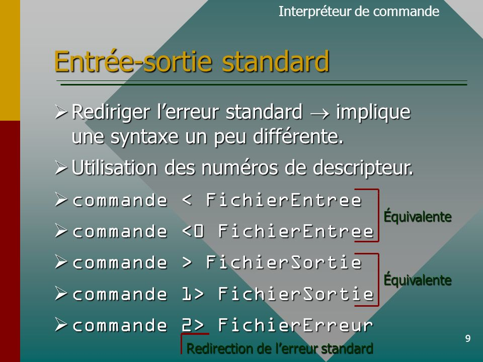 10 Entrée-sortie standard cat sortie.txt 2> erreur.txt cat sortie.txt 2> erreur.txt cat > sortie.txt 2>&1 cat > sortie.txt 2>&1 Démonstration de la procédure Démonstration de la procédure Interpréteur de commande Les messages d erreur de la commande cat seront enregistrés dans ce fichier La sortie de cat est enregistrée dans le fichier sortie.txt.