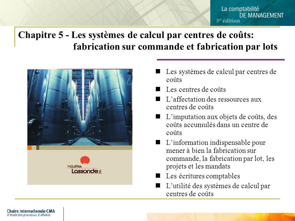 2 Chapitre 5 - Les systèmes de calcul par centres de coûts: fabrication sur commande et fabrication par lots Les systèmes de calcul par centres de coû