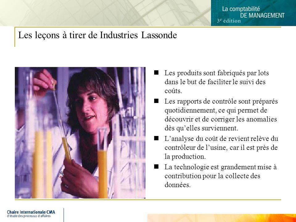 9 Les leçons à tirer de Industries Lassonde Les produits sont fabriqués par lots dans le but de faciliter le suivi des coûts. Les rapports de contrôle