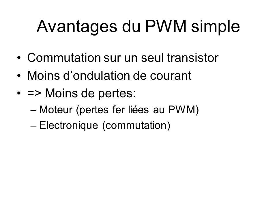 Avantages du PWM simple Commutation sur un seul transistor Moins dondulation de courant => Moins de pertes: –Moteur (pertes fer liées au PWM) –Electro