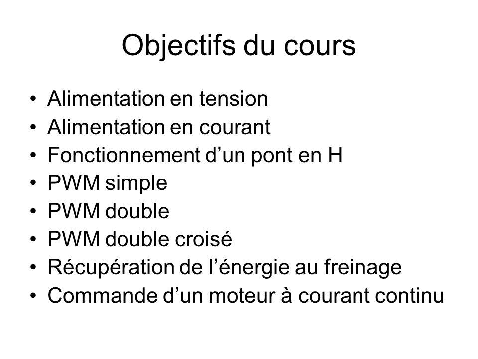 Objectifs du cours Alimentation en tension Alimentation en courant Fonctionnement dun pont en H PWM simple PWM double PWM double croisé Récupération d